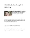 10 Lời Khuyên Dinh Dưỡng Để Có Làn Da Đẹp
