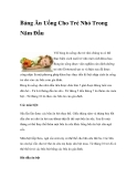 Bảng Ăn Uống Cho Trẻ Nhỏ Trong Năm Đầu