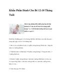 Khẩu Phần Dành Cho Bé 12-18 Tháng Tuổi