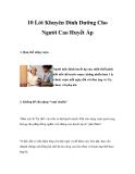 10 Lời Khuyên Dinh Dưỡng Cho Người Cao Huyết Áp