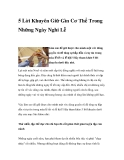 5 Lời Khuyên Giữ Gìn Cơ Thể Trong Những Ngày Nghỉ Lễ