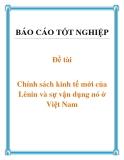 Báo cáo: Chính sách kinh tế mới của Lênin và sự vận dụng nó ở Việt Nam