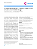 "Báo cáo hóa học: "" High-frequency oscillatory ventilation after cardiac surgery: a treatment for all ages"""