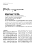 "Báo cáo hóa học: ""Research Article Alternative Speech Communication System for Persons with Severe Speech Disord"""