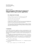 """Báo cáo hóa học: """"Research Article Some Convergence Theorems of a Sequence in Complete Metric Spaces and Its Applications"""""""
