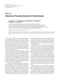 "Báo cáo hóa học: ""  Editorial Information Theoretic Methods for Bioinformatics"""