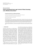 """Báo cáo hóa học: """" Research Article Power-Constrained Fuzzy Logic Control of Video Streaming over a Wireless Interconnect"""""""