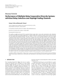 """Báo cáo hóa học: """" Research Article Performance of Multiple-Relay Cooperative Diversity Systems with Best Relay Selection over Rayleigh Fading Channels"""""""