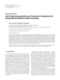 """Báo cáo hóa học: """"Research Article Joint Video Summarization and Transmission Adaptation for Energy-Efficient Wireless Video Streaming"""""""