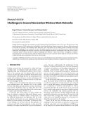 "Báo cáo hóa học: ""  Research Article Challenges in Second-Generation Wireless Mesh Networks"""
