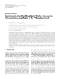 "Báo cáo hóa học: "" Research Article Examining the Viability of Broadband Wireless Access under Alternative Licensing Models in the TV Broadcast Bands"""
