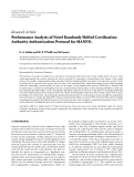 """Báo cáo hóa học: """"Research Article Performance Analysis of Novel Randomly Shifted Certification Authority Authentication Protocol for MANETs"""""""