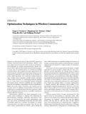 "Báo cáo hóa học: ""Editorial Optimization Techniques in Wireless Communications"""
