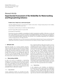 """Báo cáo hóa học: """" Research Article Experimental Assessment of the Reliability for Watermarking and Fingerprinting Schemes"""""""