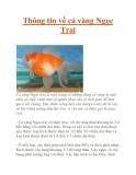 Thông tin về cá vàng Ngọc Trai