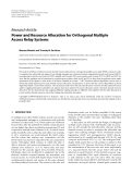 """Báo cáo hóa học: """" Research Article Power and Resource Allocation for Orthogonal Multiple Access Relay Systems"""""""