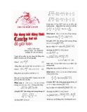 áp dụng bất đẳng thức cosi hai số để giải toán