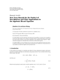 """Báo cáo hóa học: """"  Research Article New Trace Bounds for the Product of Two Matrices and Their Applications in the Algebraic Riccati Equation"""""""