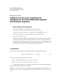 """Báo cáo hóa học: """" Research Article Sufficient and Necessary Conditions for Oscillation of nth-Order Differential Equation with Retarded Argument"""""""
