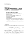 """Báo cáo hóa học: """" Research Article Existence and Asymptotic Behavior of Solutions for Weighted p t -Laplacian System Multipoint Boundary Value Problems in Half Line"""""""