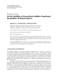 """Báo cáo hóa học: """"  Research Article On the Stability of Generalized Additive Functional Inequalities in Banach Spaces"""""""