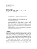 "Báo cáo hóa học: "" Research Article New LMI-Based Conditions for Quadratic Stabilization of LPV Systems"""