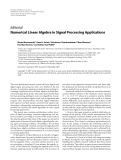 """Báo cáo hóa học: """" Editorial Numerical Linear Algebra in Signal Processing Applications"""""""