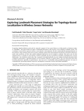 """Báo cáo hóa học: """"Research Article Exploring Landmark Placement Strategies for Topology-Based Localization in Wireless Sensor Networks"""""""