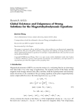 "Báo cáo hóa học: "" Research Article Global Existence and Uniqueness of Strong Solutions for the Magnetohydrodynamic Equations"""
