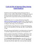 Cách tải File từ Internet bằng chương trình FlashGet