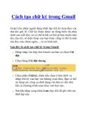Cách tạo chữ ký trong Gmail