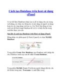 Cách tạo Database trên host sử dụng cPanel