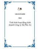 Đề tài: Tình hình hoạt động kinh doanh Công ty Hà Phú An