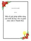 Đề tài: Một số giảI pháp nhằm nâng cao trình độ học vấn và giảm mức sinh ở Thanh Hoá.