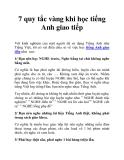 7 quy tắc vàng khi học tiếng Anh giao tiếp
