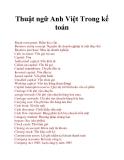 Thuật ngữ Anh Việt Trong kế toán