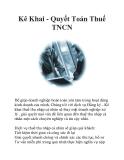 Kê Khai - Quyết Toán Thuế TNCN