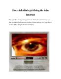 Học cách đánh giá thông tin trên Internet