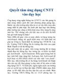Quyết tâm ứng dụng CNTT vào dạy học