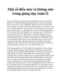 Một số điều nên và không nên trong giảng dạy toán/11