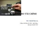 Bài giảng Quản trị rủi ro tài chính - ThS.Trịnh Thị Phan Lan