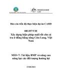 """Báo cáo nghiên cứu nông nghiệp """" Xây dựng biện pháp nuôi tốt cho cá tra ở đồng bằng sông Cửu Long, Việt Nam """" MS5, MS7"""