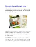 Bảo quản thực phẩm ngày nóng