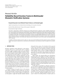 """Báo cáo hóa học: """" Research Article Reliability-Based Decision Fusion in Multimodal Biometric Verification Systems"""""""