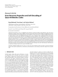 """Báo cáo hóa học: """"  Research Article Error Recovery Properties and Soft Decoding of Quasi-Arithmetic Codes"""""""