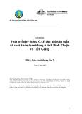Báo cáo nghiên cứu nông nghiệp: Phát triển hệ thống GAP cho nhà sản xuất và xuất khẩu thanh long ở tỉnh Bình Thuận và Tiền Giang (MS3)