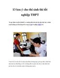 13 lưu ý cho thí sinh thi tốt nghiệp THPT