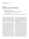 "Báo cáo hóa học: ""  Editorial Algorithmic Aspects of Wireless Networks"""