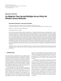 """Báo cáo hóa học: """"  Research Article An Adaptive Time-Spread Multiple-Access Policy for Wireless Sensor Networks"""""""