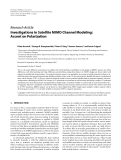 """Báo cáo hóa học: """" Research Article Investigations in Satellite MIMO Channel Modeling: Accent on Polarization"""""""